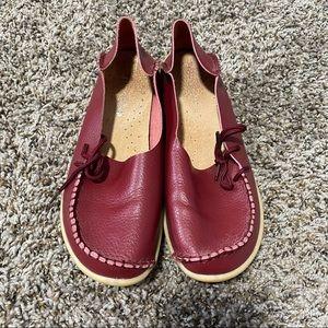 Socofy leather slip on moccasins 8-8.5